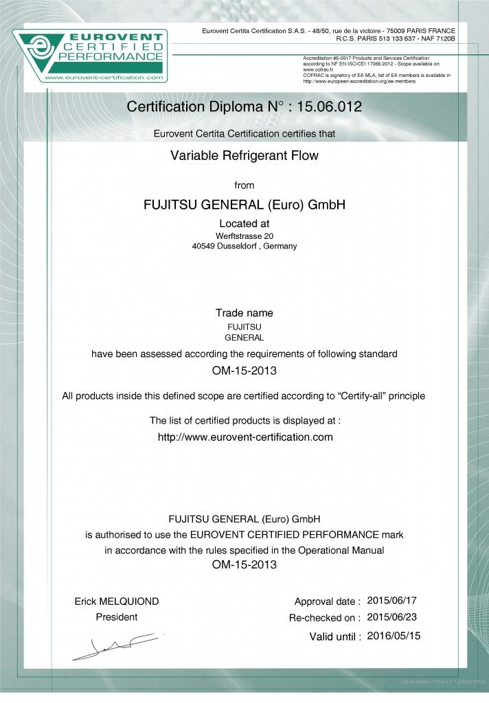 Eurovent Certificat